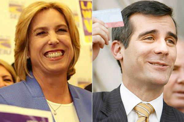 Los Angeles mayoral candidates Wendy Greuel and Eric Garcetti, both liberal Democrats, have struggled to be sympathetic, but not too embracing, of the defenses that unions have mounted of their members' wages and benefits.
