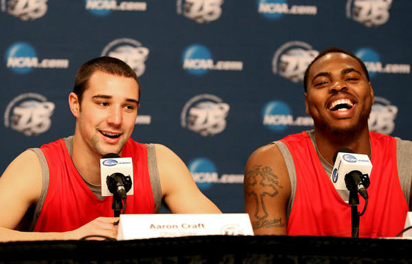 Buckeyes guard Aaron Craft and forward Deshaun Thomas address the media Wednesday at Staples Center.