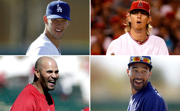 Aces Clayton Kershaw (top left) and Jered Weaver (top right) along with sluggers Albert Pujos (bottom left) and Matt Kemp have plenty on the line this season when the high-priced Angels and Dodgers open the season next week.