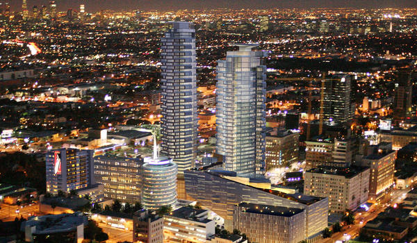 An artist rendering of the proposed development around the Capitol Records building on Vine Street in Hollywood.