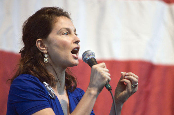 In this Nov. 1, 2008 photo, actress Ashley Judd speaks at a Democratic get-out-the-vote rally in Louisville, Ky. Judd announced Wednesday she won't run for U.S. Senate in Kentucky against Republican Mitch McConnell, saying she had given serious thought to a campaign but decided her responsibilities and energy need to be focused on her family.