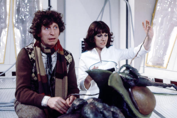 "Tom Baker and Elisabeth Sladen in ""The Ark in Space."""