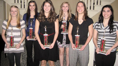 First team all-Somerset County girls basketball team selections are, front row from left: Kayla Stockenus, Abby Stahl, Kayla Luprek and Carly Baer; back row: Lyndy Baer and Emma Spinelli.