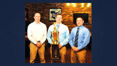 Head coaches, from left, Meyersdale's Chadd Sines, North Star's Tim Rosa and Berlin's Jason Cornell stand with the team championship trophy, sponsored by the Daily American. The three teams tied for first place in the Somerset County wrestling standings for the 2012-13 season.
