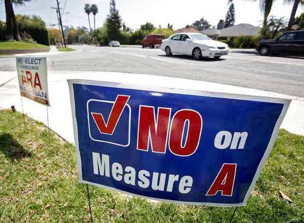 A No on Measure A sign on Kenneth Road in Glendale on Wednesday, March 27, 2013.