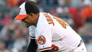 "Jair Jurrjens was pretty bummed after he <a href=""http://www.baltimoresun.com/sports/orioles/blog/bs-sp-orioles-notes-0328-20130327,0,3147976.story"" target=""_blank"">had to leave Wednesday's game in the second inning</a> because he took a batted ball in the ribs."