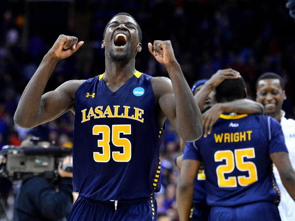La Salle Explorers guard Rohan Brown (35) celebrates a 63-61 win over the Kansas State Wildcats in the second round of the NCAA Men's Basketball Tournament at the Sprint Center in Kansas City, Missouri, Friday, March 22, 2013.