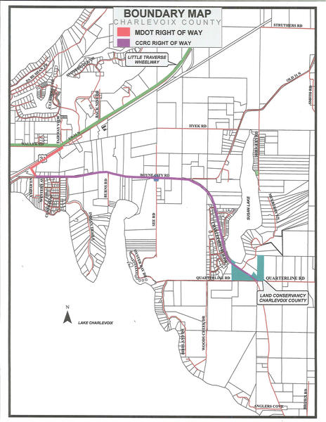 This map shows the second phase of a non-motorized recreational trail that would stretch from the Little Traverse Wheelway to Boyne City. Funding is currently being sought for the segment. Construction on the first phase, running three miles east from Boyne City, is expected to begin early next year.