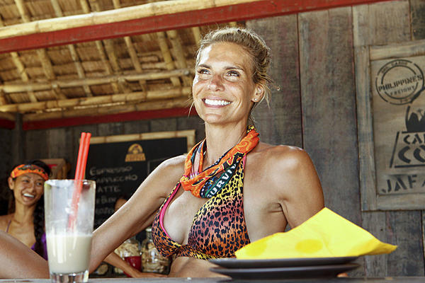 "Sherri Biethman of the Gota Tribe enjoys her reward during the latest episode of ""Survivor: Caramoan."""