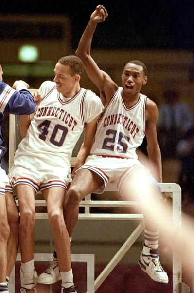 The defining moment came as UConn's Jeff King, left, and Phil Gamble sat atop the backboard at Madison Square Garden after winning the 1988 NIT.