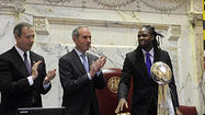 "<span style=""font-size: small;"">One of the perks of getting elected to the Maryland General Assembly is that when the Baltimore Ravens win the Super Bowl, you get to have your picture taken with the Lombardi Trophy and whichever Ravens can be lured to Annapolis.</span>"