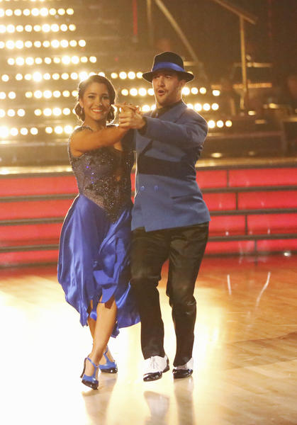 "Aly Raisman and partner Mark Ballas compete during Week 2 of ""Dancing With the Stars."""