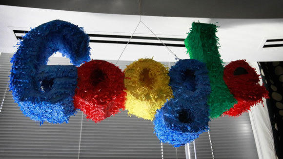 A pinata-style logo hangs in the Google Chicago office in a 2009 file photo.