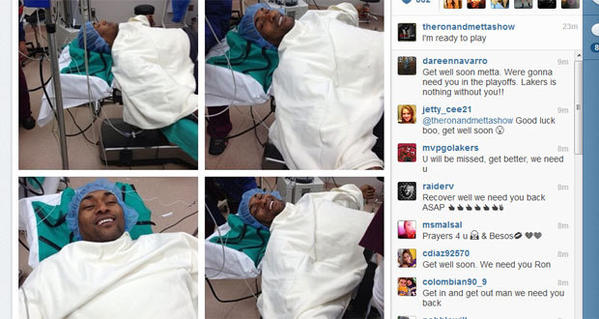 Pre-surgery photos of Metta World Peace posted online Thursday morning.