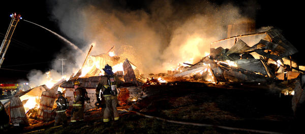 This barn at 19420 Lappans Road near Boonsboro was destroyed in a fire early Thursday morning.