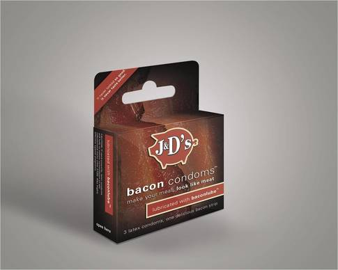 For the true bacon lover, J&D has introduced bacon condoms.