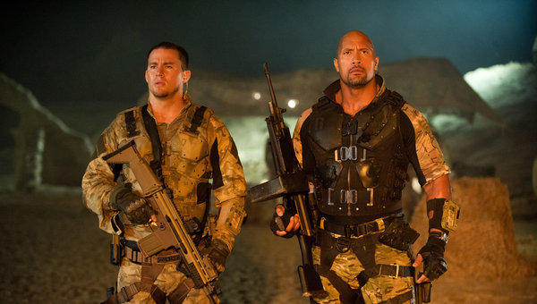 "Channing Tatum, left, and Dwayne Johnson are shown in a scene from ""G.I. Joe: Retaliation."""