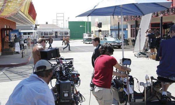 "A crew shoots a scene from CBS' ""Vegas."" Employment in the motion picture, television and sound recording category fell 7.3% to 114,700 jobs in January."