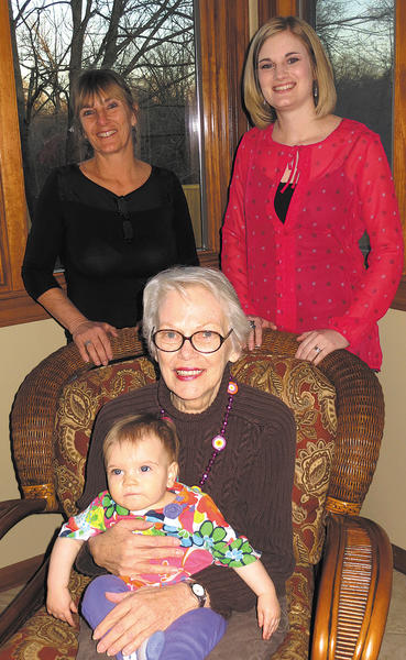Four generations of a local family gathered March 8 to celebrate Patricia Wieland Robinson's 80th birthday. Front row, from left, are Patricia Wieland Robinson, holding Carsyn Moger. Back row, from left, are Mary Pat Robinson-Fortney and Ashley Moger.