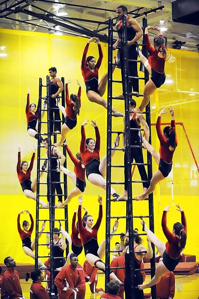 Troupers from University of Maryland's Gymkana perform at the ARCC on Wednesday...-----------..Members of the University of Maryland's Gymkana troupe put on an acrobatic feat Wednesday at the Athletic, Recreation and Community Center at Hagerstown Community College.