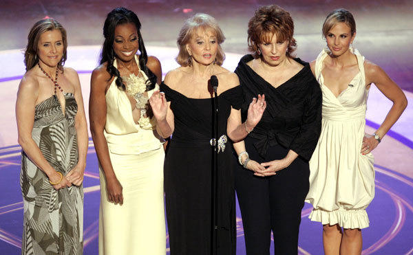"The hosts of ABC's talk show ""The View"" (from L-R) Meredith Vieira, Star Jones-Reynolds, Barbara Walters, Joy Behar and Elisabeth Hasselbeck appear at the 33rd annual Daytime Emmy Awards at the Kodak Theatre in Hollywood, California in this April 28, 2006 file photo."
