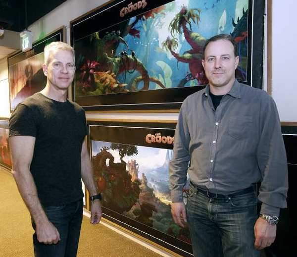 "Chris Sanders, left, and Kirk De Micco, right, at the DreamWorks SKG campus in Glendale on Thursday, March 21, 2013. De Micco and Sanders directed the animated film ""The Croods."" (Raul Roa/Staff Photographer)"