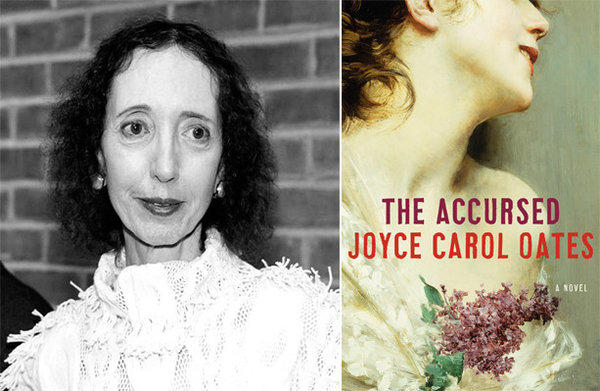 Author Joyce Carol Oates and the cover of her novel, 'The Accursed'.