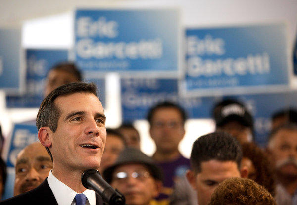 Eric Garcetti, candidate for mayor, addresses a gathering at SEIU-USWW headquarters.