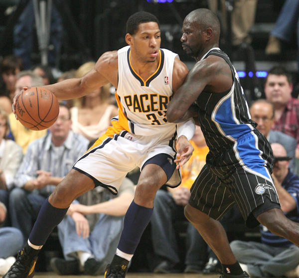 The Indiana Pacers' Danny Granger works against Jason Richardson, of the Orlando Magic during last season's playoffs.