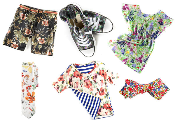 Flower power: Shorts and Converse sneakers from Nordstrom; Denella floral dress from Le Dress; bowtie and necktie from J. Crew; floral-and-stripe top from Madewell