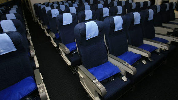 Seats in a 747 are shown in a 2009 file photo.