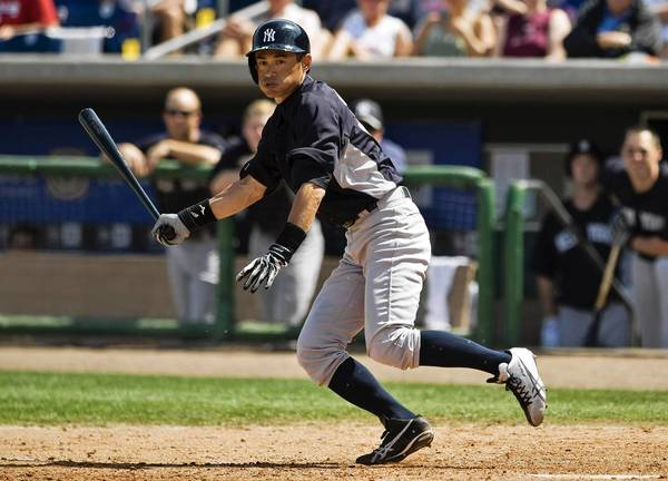 New York Yankees' Ichiro Suzuki bats during the seventh inning of a MLB spring training baseball game against the Philadelphia Phillies in Clearwater, Florida, March 19, 2013. Ichiro is one of several key Yankees that will open the season on the disabled list.