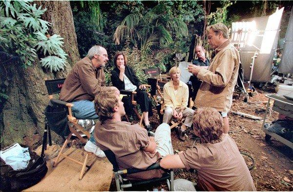 "Paleontologist Jack Horner, far left, was the advisor for the ""Jurassic Park"" production on scientific matters and he provided inspiration for the character of Dr. Alan Grant played by Sam Neil (far right)."