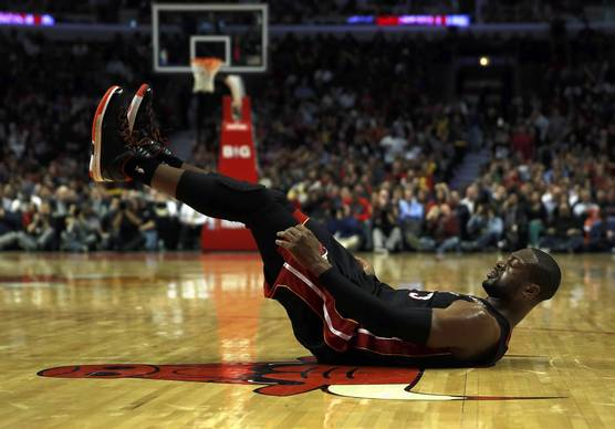 The Heat's Dwyane Wade reacts during the 101-97 loss.