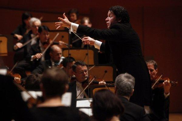"Gustavo Dudamel conducts Debussy's ""La Mer"" with the Los Angeles Philharmonic at Walt Disney Concert Hall in February."