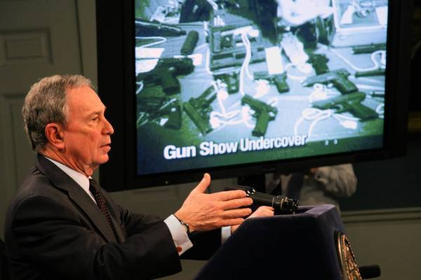 New York Mayor Michael Bloomberg, pictured in 2001 at City Hall, shows a video of an undercover gun purchase that took place at an Arizona gun show without a background check.