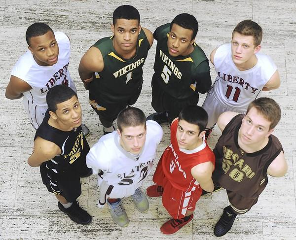 The 2012-13 All-Area Boys Basketball first team are: (Top row from left) Liberty's Deshawn Oyeniyi, Central Catholic's Jean Lee Baez and Mohammad Ali Abdur-Rahkman, and Liberty's Greg Noack. (Front from left) Freedom's Nyreef Jackson, Bangor's Alex Colton, Parkland's Austin Beidelman, and Bethlehem Catholic's Matt Husek. Missing from group photo are: Derike Chiclana of Freedom, Gerald Terry of Wilson, and Eric Vick of Pocono Mountain West.