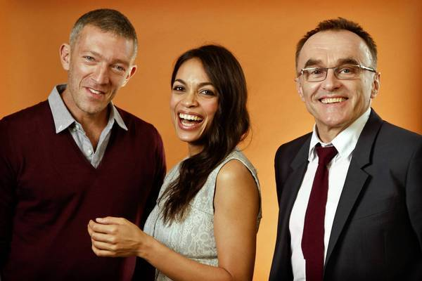 Vincent Cassel, left, Rosario Dawson and Danny Boyle at the Four Seasons Hotel in Beverly Hills.