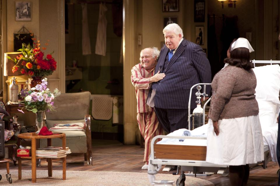 """Actors Danny DeVito and Richard Griffiths perform in """"The Sunshine Boys"""" at the Savoy Theatre on May 17, 2012 in London, England.  <br/> <br/> The play was scheduled open the Ahmanson Theater in Los Angeles September 24, 2013."""