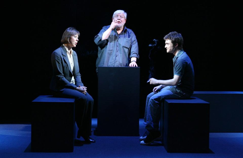 """Jenny Agutter, Richard Griffiths and Daniel Radcliffe on stage in Peter Shaffer's play """"Equus."""""""