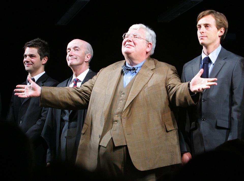 "Actors James Corden, left, Clive Merrison, Richard Griffiths and Stephen Campbell Moore take the curtain call at the 2006 opening night of the play ""The History Boys."" <br/> <br/> Griffiths won a Tony for his lead role as Hector, the teacher."
