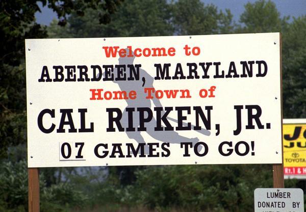 The countdown sign in Aberdeen for Cal Ripken's streak.
