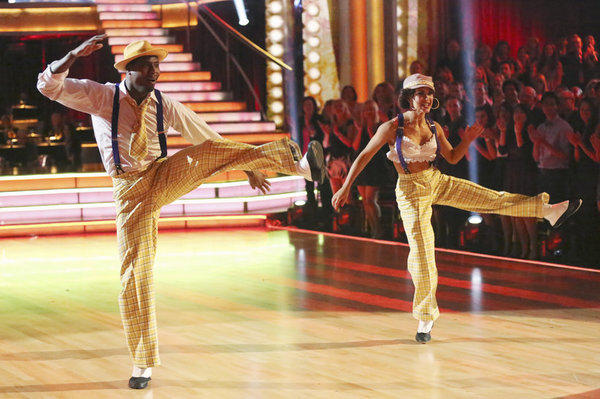 "Jacoby Jones and his partner, Karina Smirnoff, perform during Week 2 of ""Dancing with the Stars."""