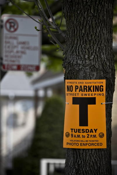Signs hang on trees and light poles telling residents of street sweeping on South Lowe Ave.