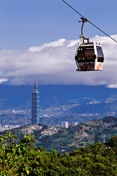 The Maokong Gondola in Taipei, Taiwan. Many use it to go to the zoo.