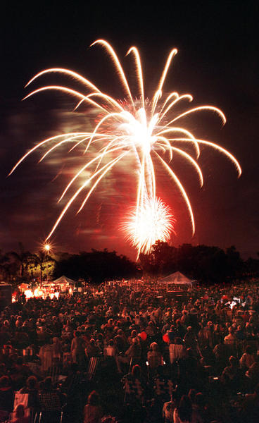 Photo by Eric J. Larson: Fireworks light up the sky in Boca Raton Sunday night at Florida Atlantic University (file art).