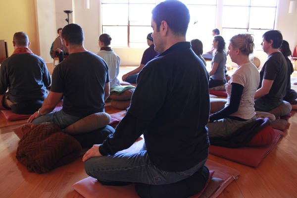 Groups meet for meditation throughout each day.