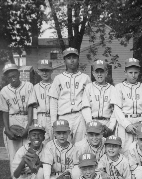 The 1954 New Windsor Cubs were the first integrated team in Frederick-Carroll County Little League. Back row, left to right: Richard (Jasper) Hill, Barton (Skip) West, Herbert (Sonny) Brooks, Larry Danner, Jim Dyer, Dan Hartzler. Row 2: Ed (Buzzy) Davis, Mike Schlee, Bob (Robin) Cairns. Doug John, Herb Weller, Josh Owings. Front ROW: Ken Robertson.