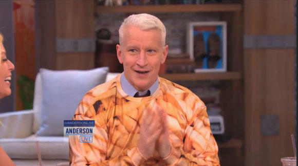 "Anderson Cooper wears a French fry shirt on his show ""Anderson Live"""