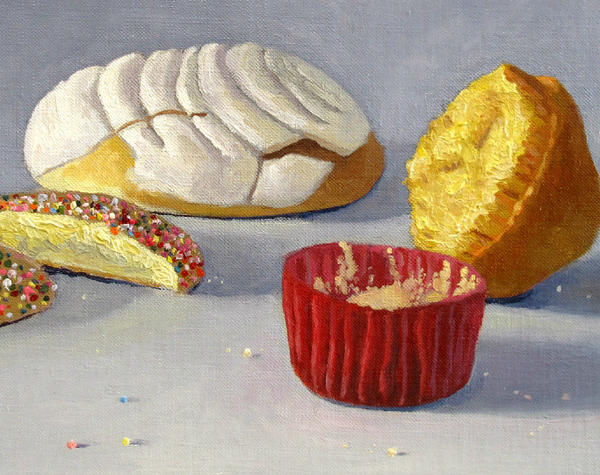 Emmanuel Galvez paints still lifes of pan dulce (sweet bread).